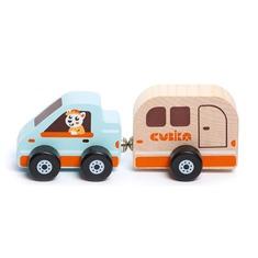 """Деревянная игрушка """"Дом на колесах"""" на магнитах 15368 (2 детали) Cubika"""