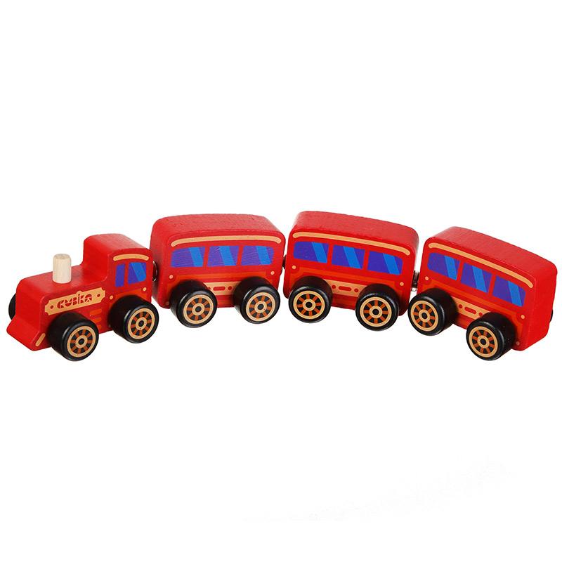 """Деревянная игрушка-поезд """"Сubika"""" на магнитах 15375 (4 детали)"""