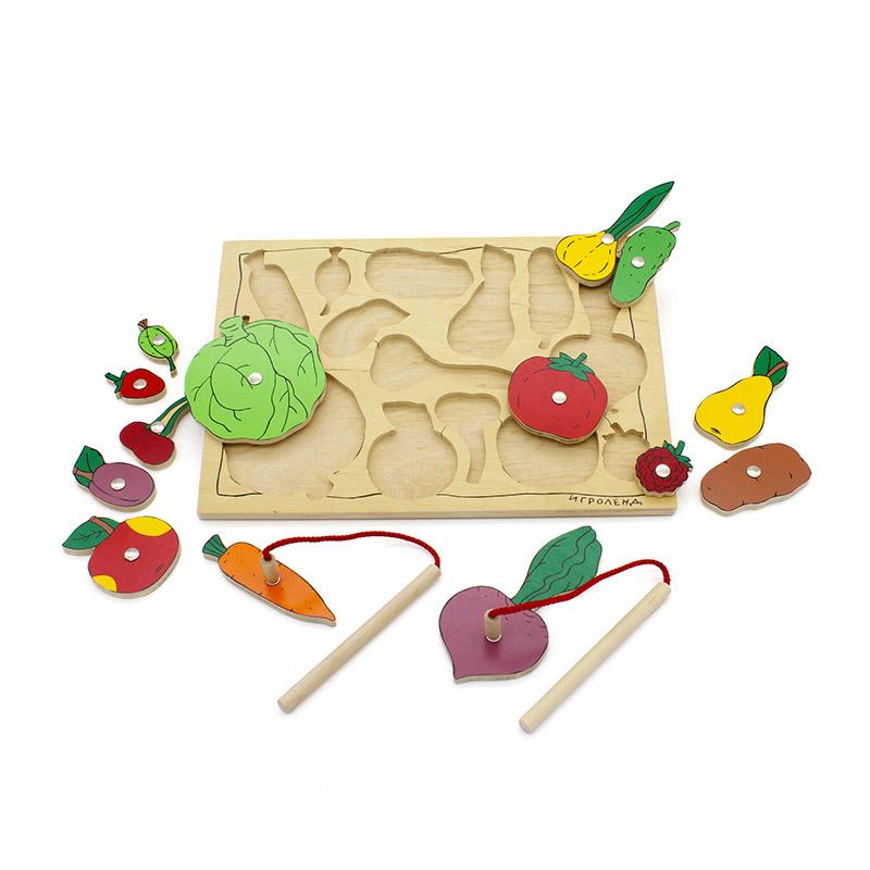 """Рамка-вкладыши на магнитах """"Кто ловкий? Во саду ли в огороде"""" 1324 Lam Toys 14 деталей"""