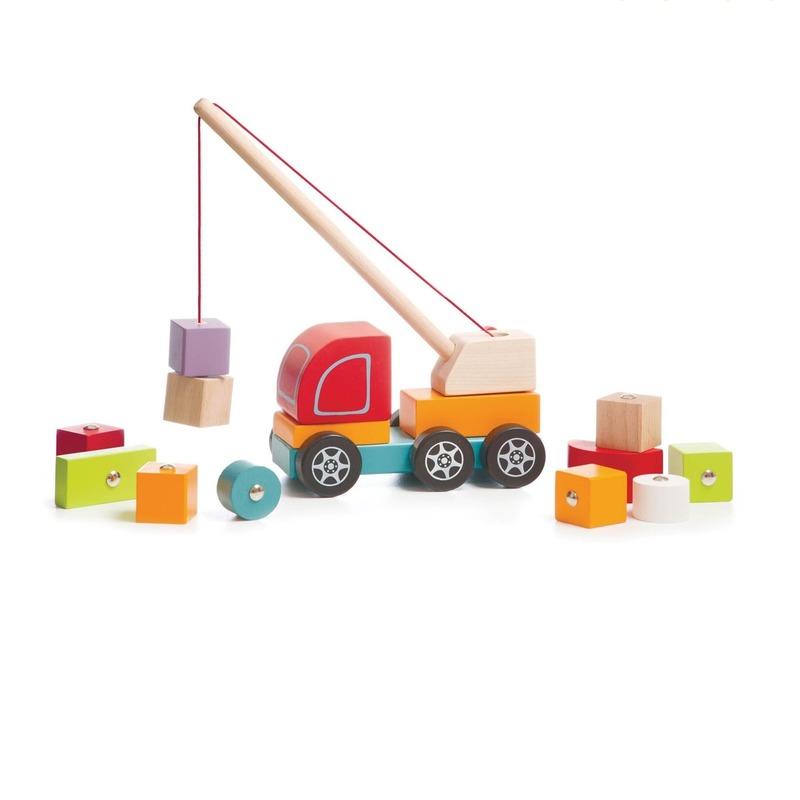 Деревянная развивающая игрушка Машинка Авто-кран ТМ CUBIKA 14 деталей