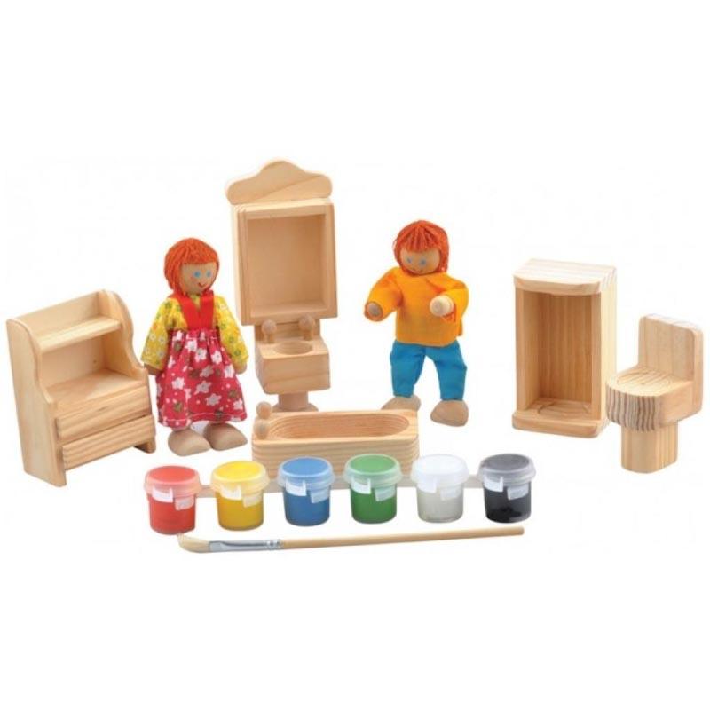 """Набор для творчества """"Ванная комната"""" Д246 Игрушки из дерева 9 деталей"""
