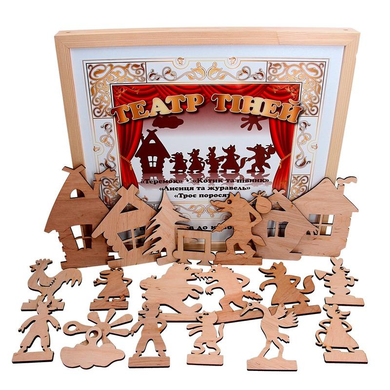 Театр теней — набор персонажей для четырех сказок «Теремок», «Котик и петушок», «Лиса и журавль», «Три поросенка»