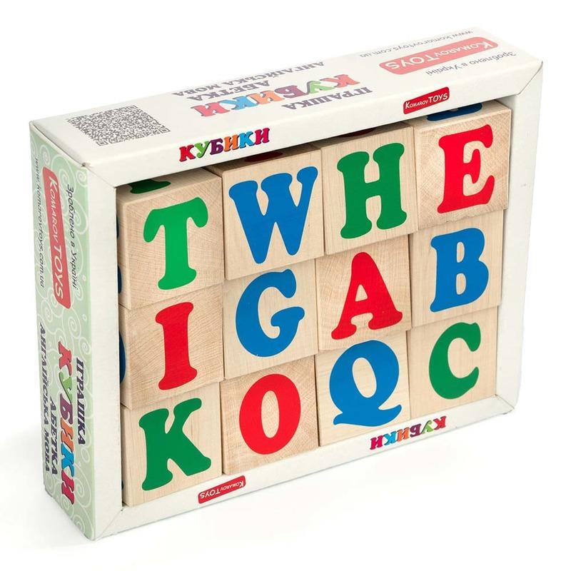 Кубики английский алфавит Komarovtoys 12 шт