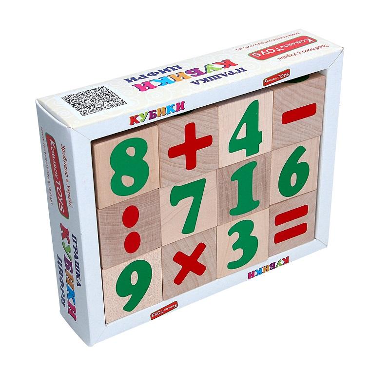 Кубики Цифры и знаки Komarovtoys 12 шт