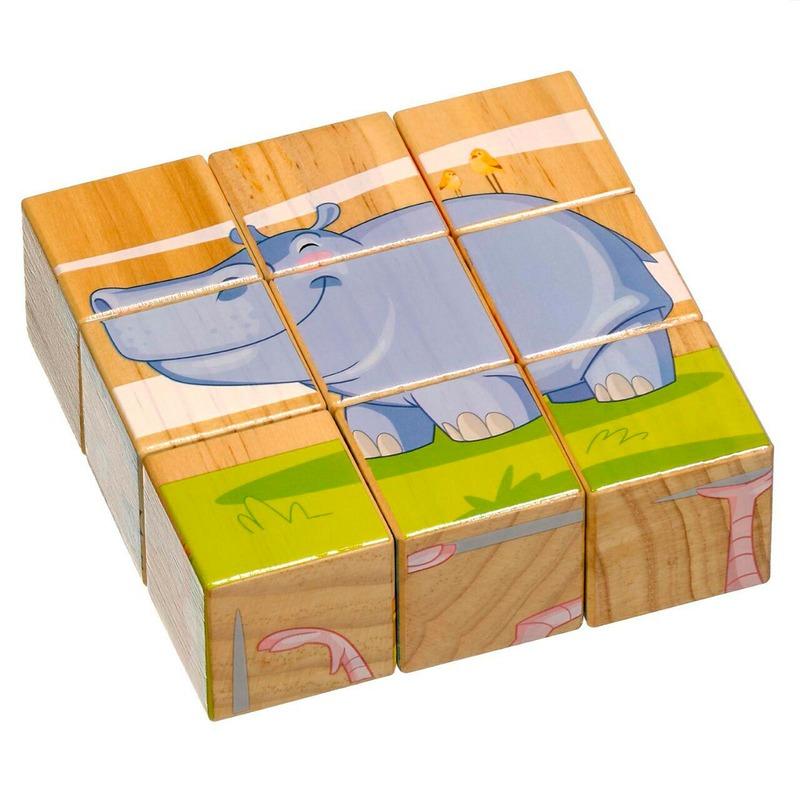 Кубики Животные Саванны Lucy&Leo 9 деталей