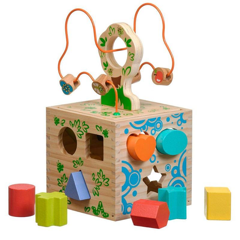 Логический кубик Игрушки из дерева 12 деталей