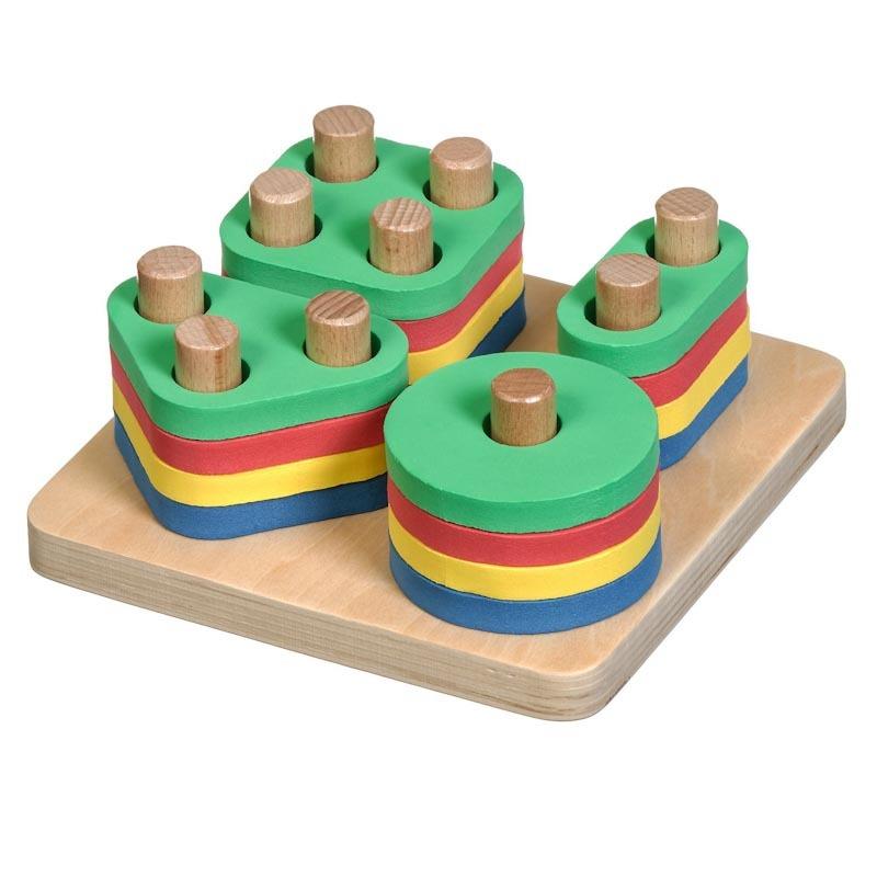 Логический квадрат Д020 Игрушки из дерева 17 деталей