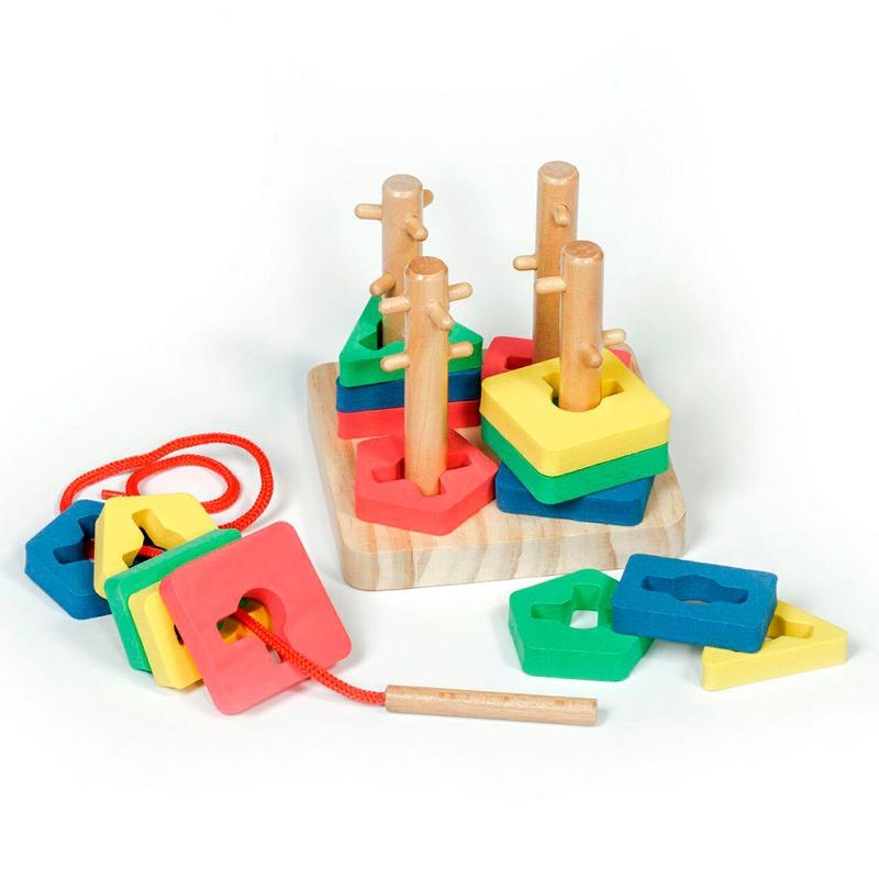 Логический Квадрат маленький Игрушки из дерева 16 деталей