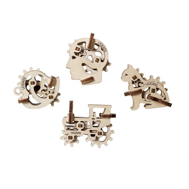 Механические 3D пазлы UGEARS Фиджети-Трибики 70029 (8-10 деталей)