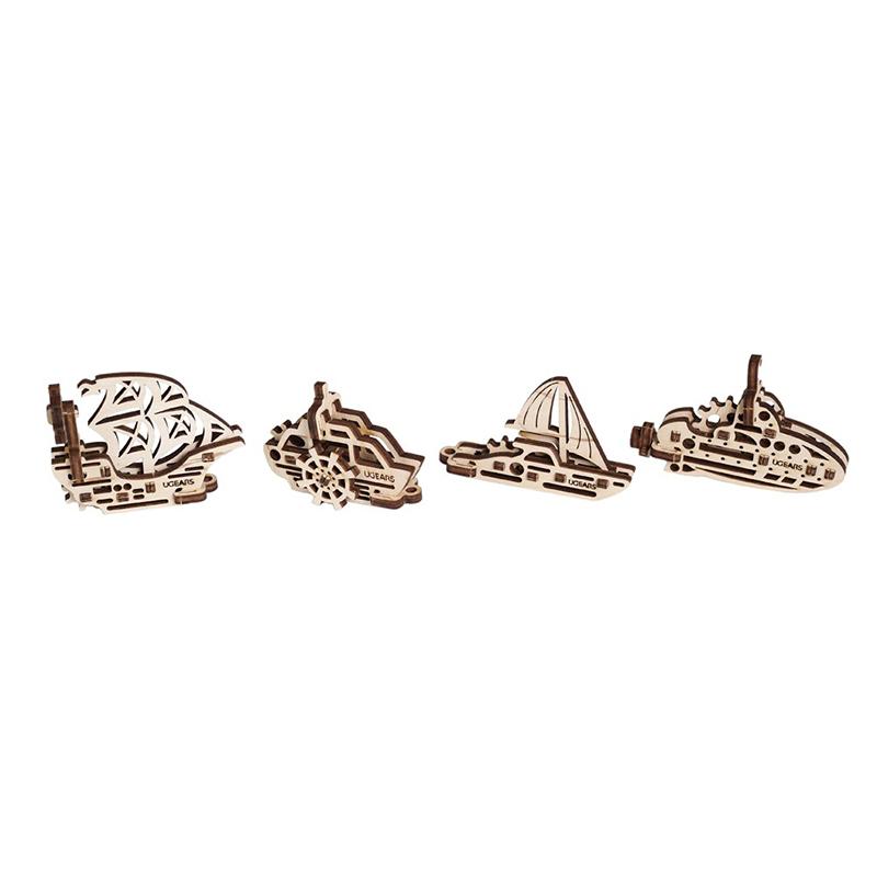 Механические 3D пазлы UGEARS Фиджеты-Корабли 4 шт. 70035