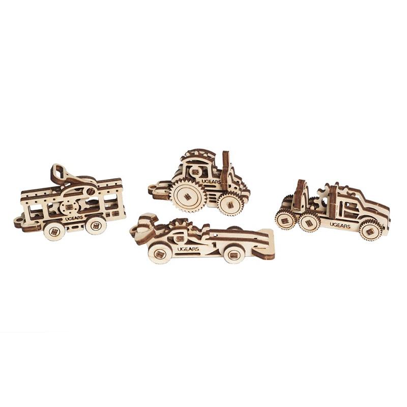 Механические 3D пазлы UGEARS Фиджеты-Наземный транспорт 70033 (14-18 деталей)
