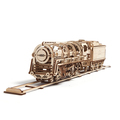 Механические 3D пазлы UGEARS Локомотив c тендером 70012 (443 детали)
