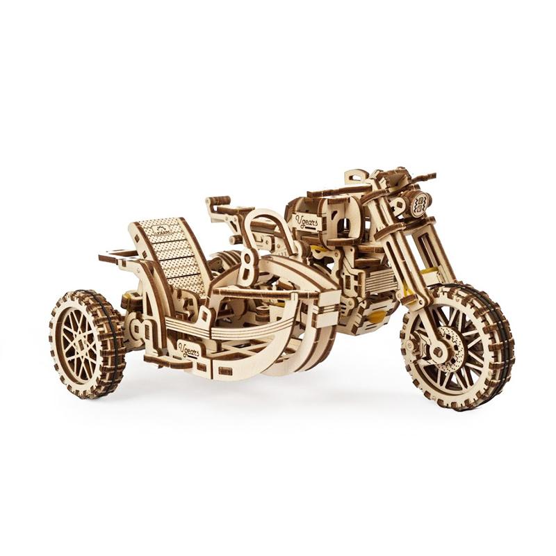 Механические 3D пазлы UGEARS Мотоцикл Scrambler UGR-10 с коляской 70137 (380 деталей)