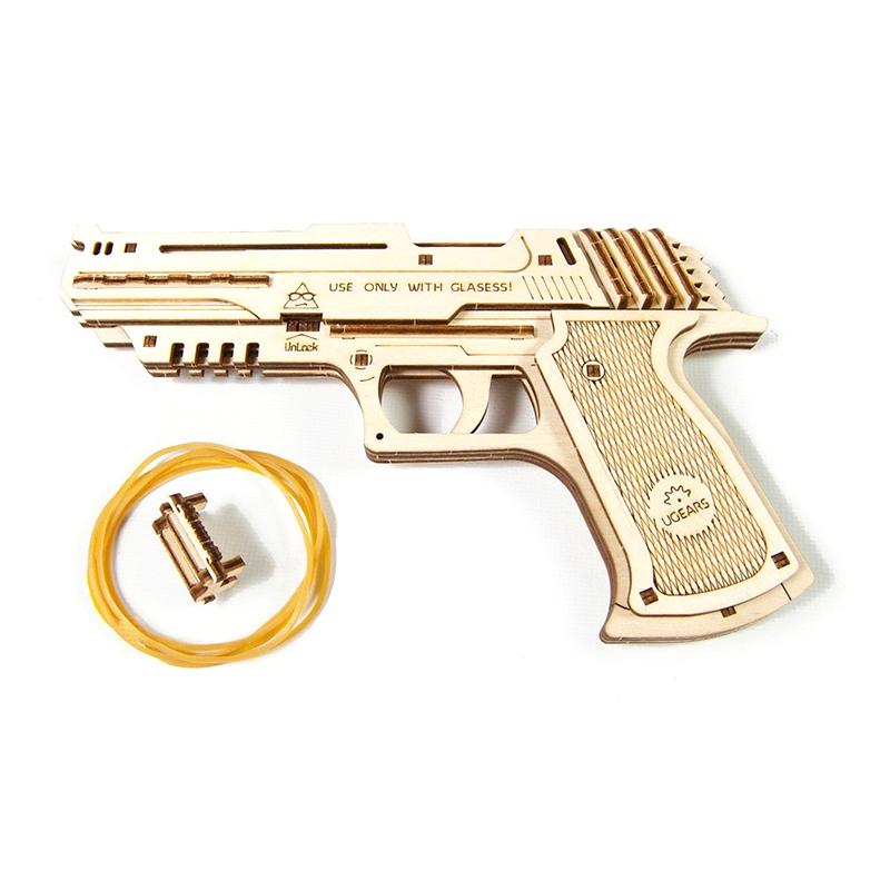 Механические 3D пазлы UGEARS Пистолет Вольф-01 70047 (63 детали)