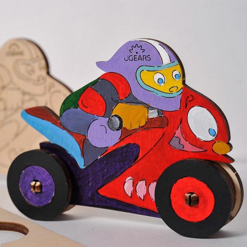 Модели раскраски UGEARS Мотоциклист 10006 (8 деталей)