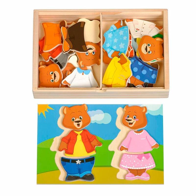 Набор Два медведя Игрушки из дерева 36 деталей