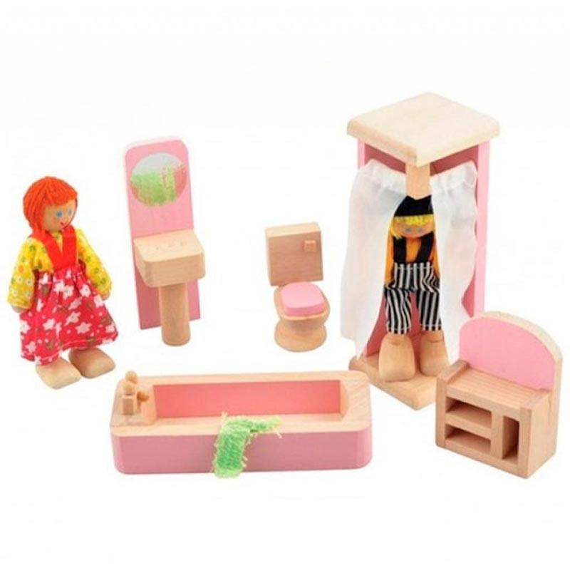 """Набор мебели для кукол """"Ванная комната"""" Д274 Игрушки из дерева 5 деталей"""