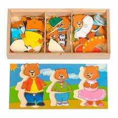 """Набор Медвежат 3 """"Игрушки из дерева"""" Д164 (54 детали)"""