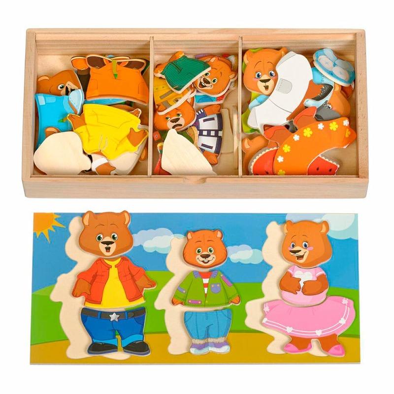 Набор Медвежат Игрушки из дерева 54 детали