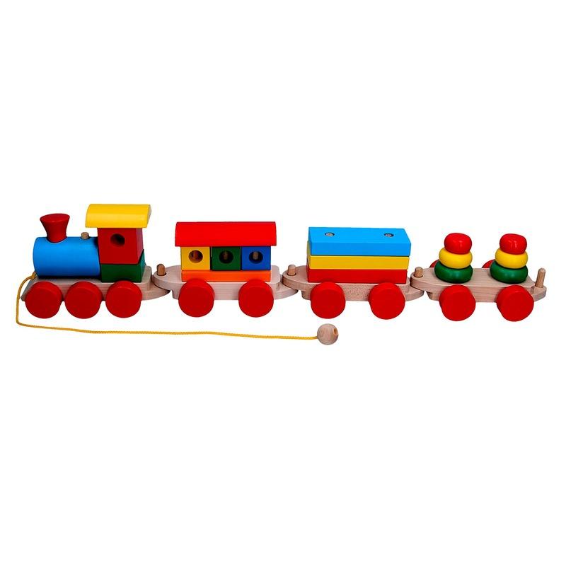 Сортер Паровоз и 3 вагона(пассажирcкий, плитовоз, пирамидки) Komarovtoys