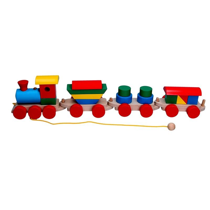 Сортер Паровоз и 3 вагона(цементовоз, цилиндры, товарный) Komarovtoys
