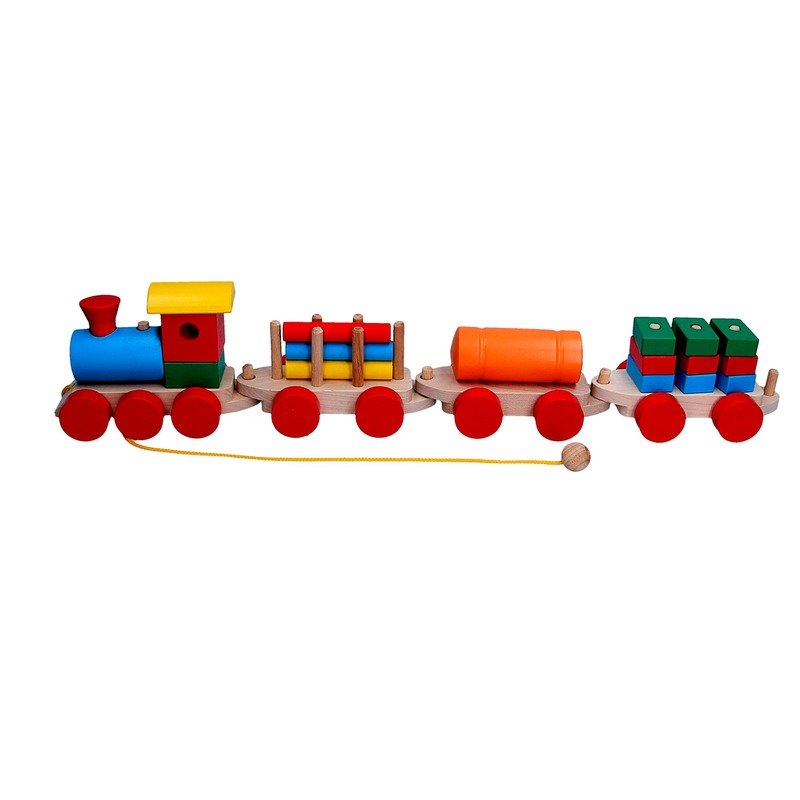 Сортер Паровоз и 3 вагона(ящики, цистерна, бревна) Komarovtoys