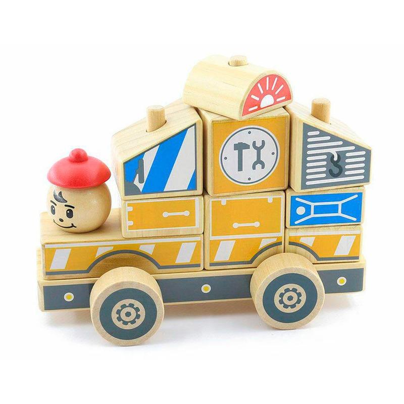 Пирамидка Ремонтный автомобиль Игрушки из дерева 10 деталей