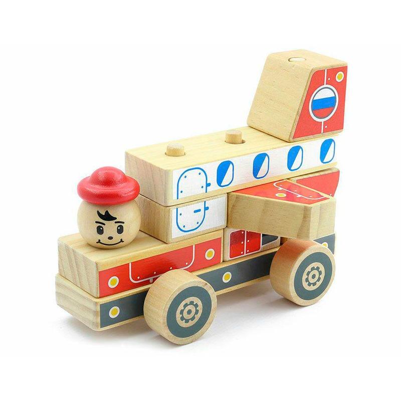 Пирамидка Самолет Игрушки из дерева 8 деталей