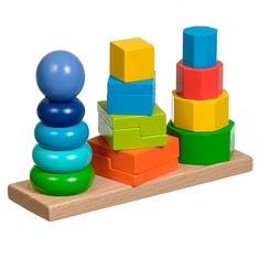 Пирамидки 3 в 1 Игрушки из дерева 16 деталей