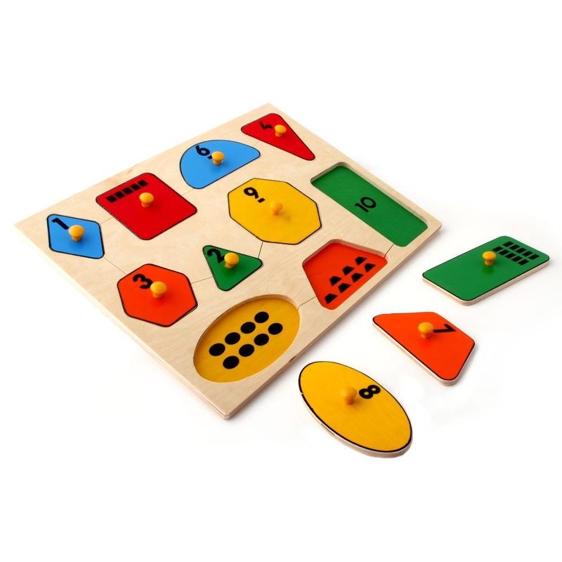"""Рамка-вкладыши """"Геометрические фигуры математика"""" Lam Toys (10 деталей)"""