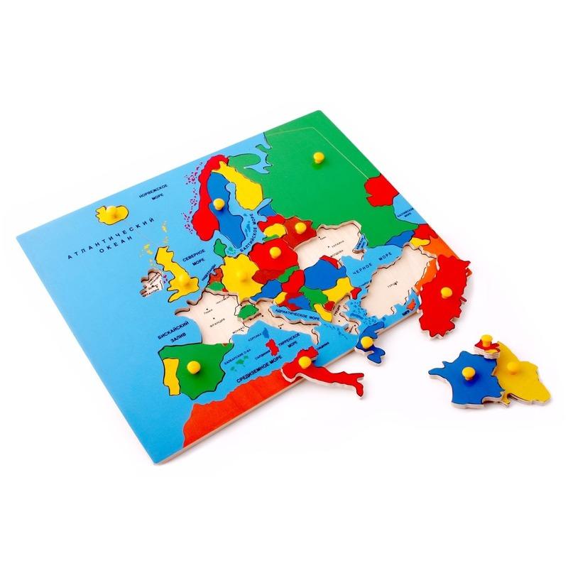 """Рамка-вкладыши """"Карта Европы"""" Lam Toys (32 детали)"""