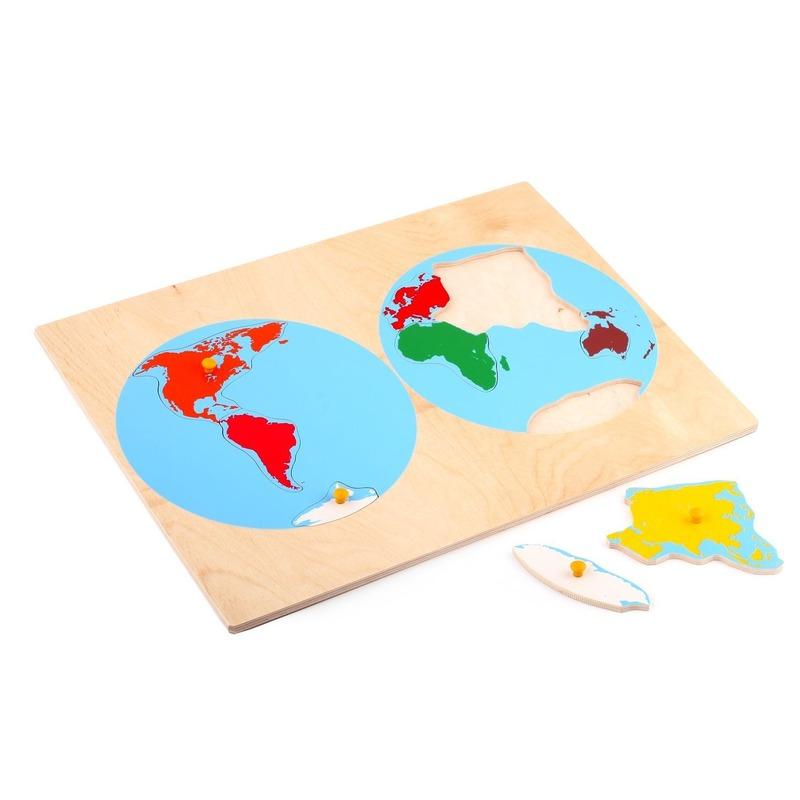 """Рамка-вкладыши """"Карта континентов"""" Lam Toys (8 деталей)"""