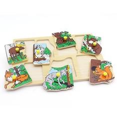 """Рамка-вкладыши """"Животные наших лесов"""" 1435 Lam Toys (7 деталей)"""