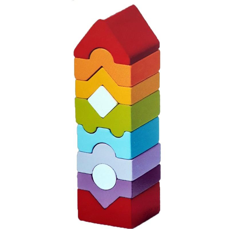 """Деревянная развивающая игрушка пирамидка """"LD-10"""" Cubika (10 деталей)"""