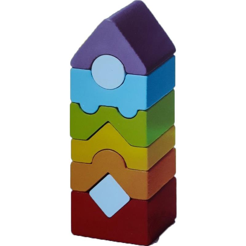 """Деревянная развивающая игрушка пирамидка """"LD-12"""" Cubika (8 деталей)"""