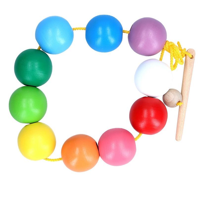 Шнуровка Цветные шарики Komarovtoys 11 деталей