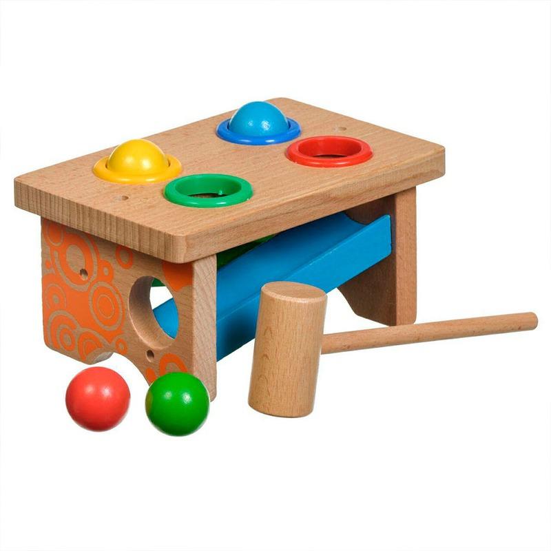 Стучалка Горка-шарики Игрушки из дерева 4 детали