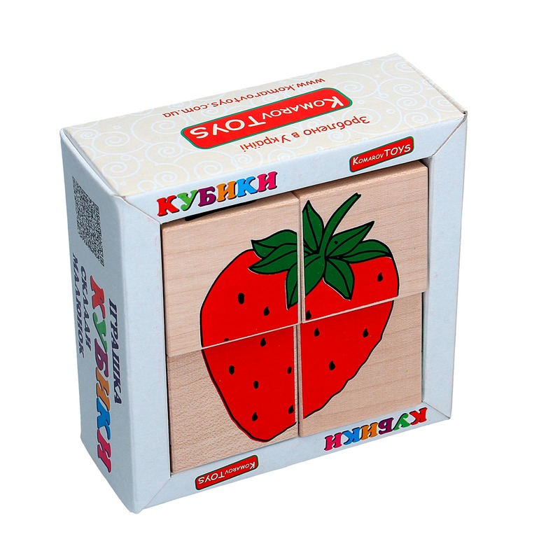 """Кубики Сложи рисунок """"Фрукты-ягоды"""" Komarovtoys 4 кубика"""