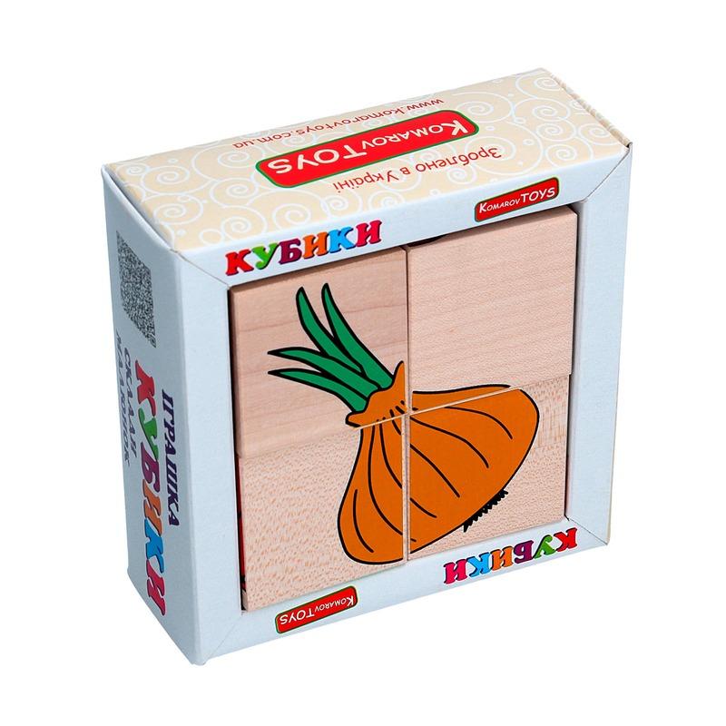 """Кубики Сложи рисунок """"Овощи"""" Komarovtoys 4 кубика"""