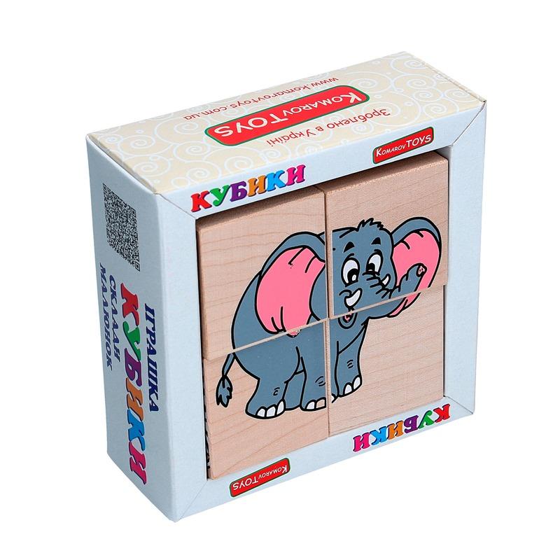 "Кубики Сложи рисунок ""Звери Африки"" Komarovtoys 4 кубика"