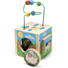 """Универсальный куб """"Ферма"""" Д374 Игрушки из дерева 5 деталей"""