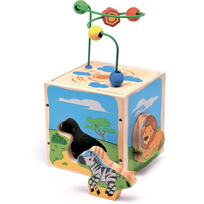 """Универсальный куб """"Сафари"""" Д374 Игрушки из дерева 5 деталей"""